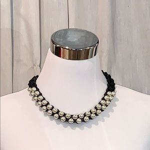 Amrita Singh Black chain pearl statement necklace